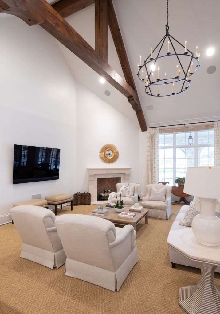 beamed ceiling in remodeled family room in north dallas
