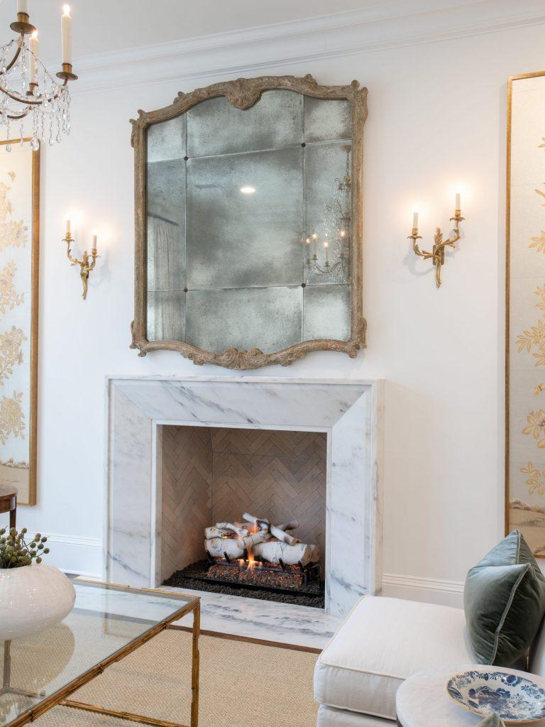A Eureka Danby marble mantel in a Glen Abbey whole house remodel