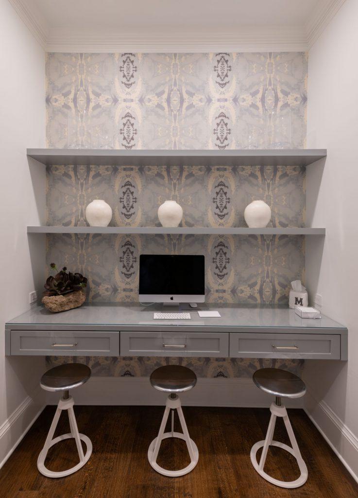 floating desk in north dallas mudroom remodel