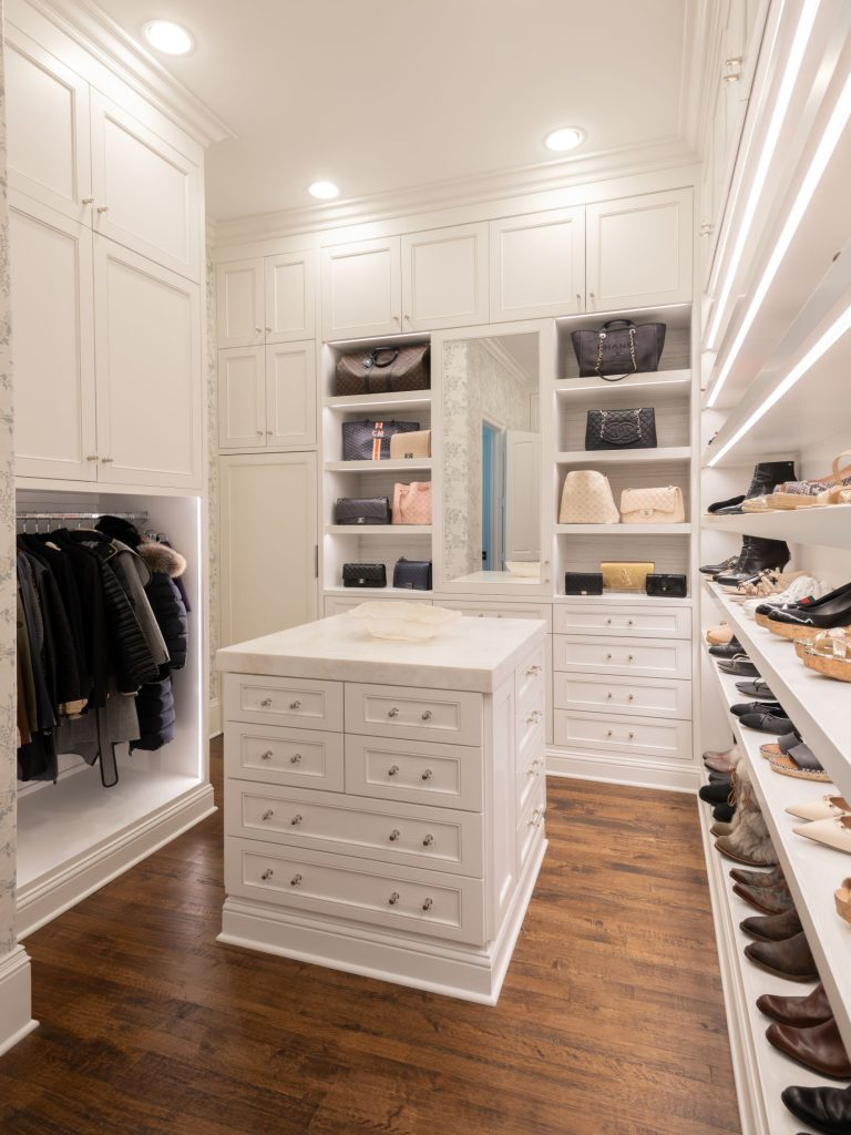 island and storage in glen abbey closet remodel