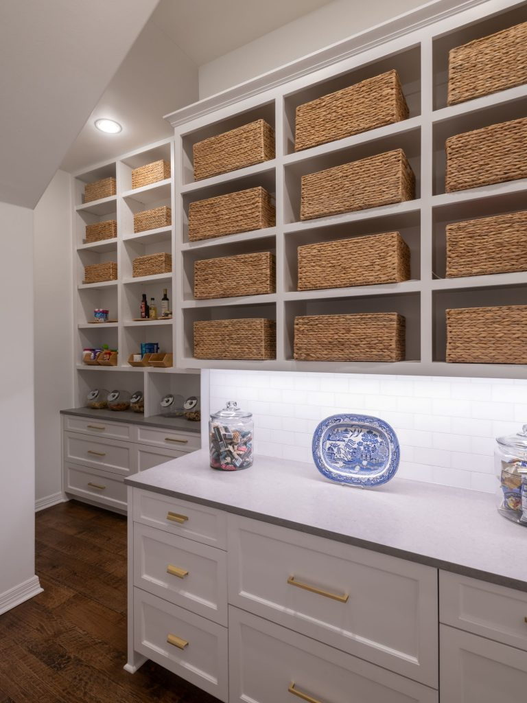 pantry remodel with refrigerator drawers and cabinet storage in north dallas