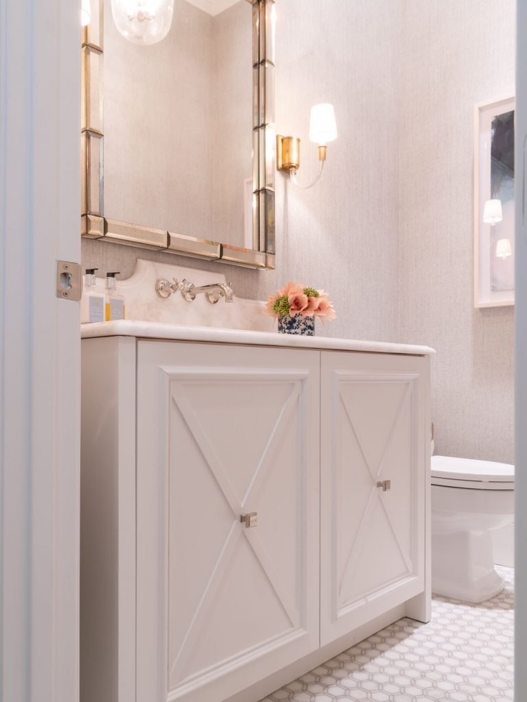 powder bath cabinet and countertop in glen abbey remodel